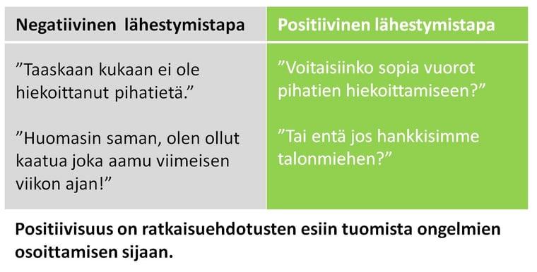 Positiivisuus on ratkaisuehdotuksia, ei ongelmien osoittamista
