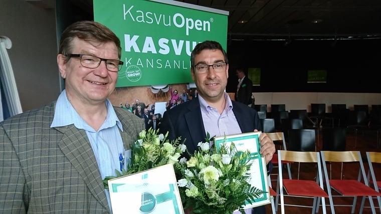Kunniamaininnan saaneen Finno Energyn Timo Erämaa ja voittajayritys Broadbit Batteriesin David Brown jatkavat Kasvu Openin finaaliin.