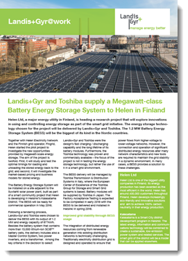 Landis+Gyr and Toshiba supply a Megawatt-class Battery Energy Storage System to Helen in Finland